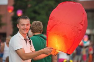teenage boy heavenly lantern balloon